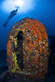The WW1 Lundy Wreck at Kabatepe in Northern Aegean Sea. Nikon D200 with 10.5mm fish-eye lens in Sea&amp;Sea Housing. 2xYS-110 Strobe both running in TTL mode. 
